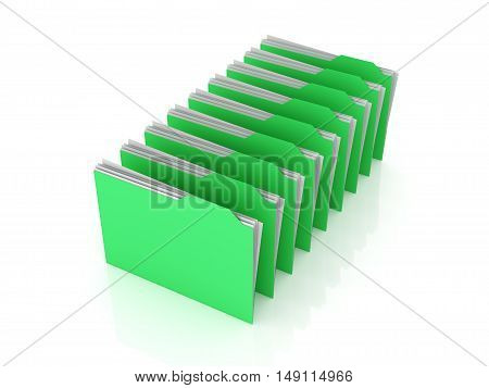 Folders in a row. 3d rendered illustration.