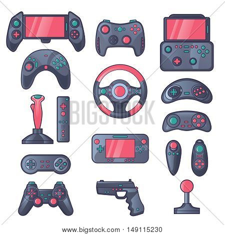 Game gadget color icons set with wireless gamepad console joystick steering wheel elements isolated vector illustration