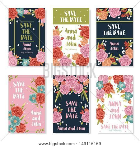 Wedding invitation banners with roses bouquet ornament save the date text and names of bride and groom flat vector illustration