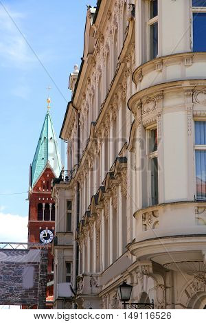 Street scene in Maribor Slovenia Europe. View on the Franciscan Church.