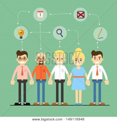 Teamwork people partnership and teamwork business community concept. Cartoon teamwork people characters. Social network of teamwork people. Social media and social network people connect. Teamwork people together vector. Business team and teamwork concept