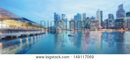 Abstract blurred background of Singapore at night