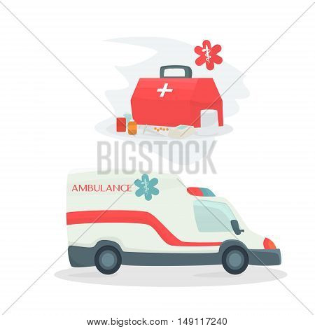 Ambulance car vector illustration. Ambulance car isolated on white background. Ambulance car vector icon illustration.