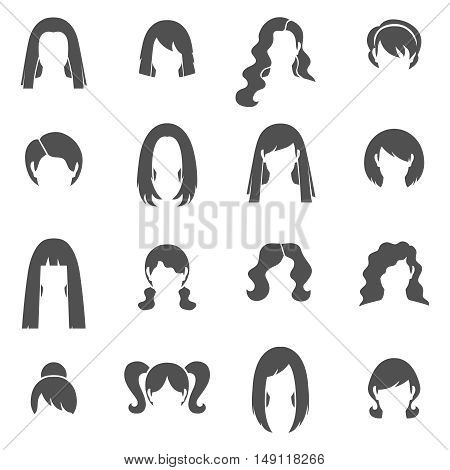 Woman hairstyle black white icons set with bun and ponytail flat isolated vector illustration