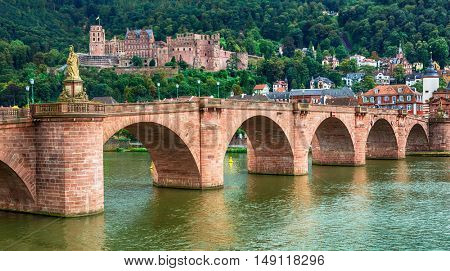 medieval Heidelberg  - view of famous Karl Theodor bridge and castle.Germany