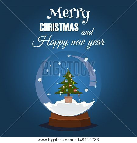 Snow globe crystal ball Merry christmas card. Fabulous glitter snowball with ski resort landscape. Happy holidays greeting card vector magic snowball. Merry christmas magic glass snow ball.