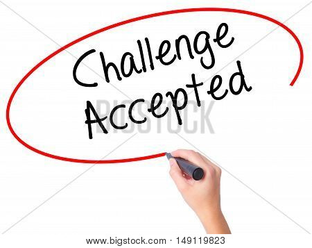 Women Hand Writing  Challenge Accepted With Black Marker On Visual Screen