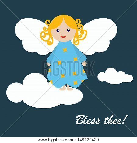 Christmas Greeting Card gift art ornament. Merry Christmas angel postcard vector illustration christmas greeting card with angel. Angel christmas greeting card holiday background xmas celebration.