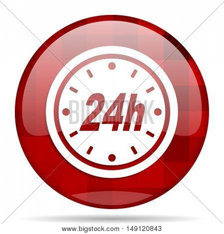 24h red round glossy modern design web icon