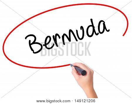 Women Hand Writing Bermuda With Black Marker On Visual Screen