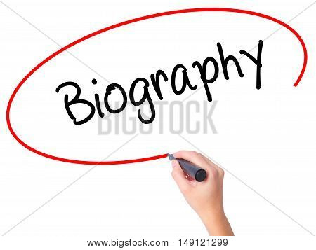 Women Hand Writing Biography  With Black Marker On Visual Screen