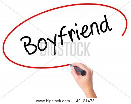 Women Hand Writing Boyfriend With Black Marker On Visual Screen.