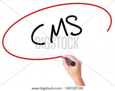 Women Hand Writing Cms (custom Management System) With Black Marker On Visual Screen