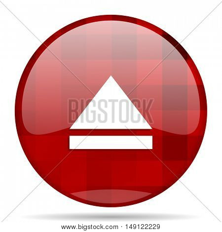 eject red round glossy modern design web icon