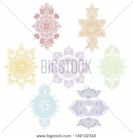 Color Chakra Set for Tattoo and for Your Design. Vector illustration