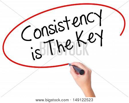 Women Hand Writing Consistency Is The Key With Black Marker On Visual Screen