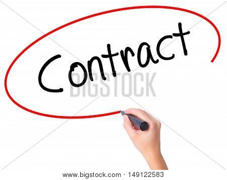 Women Hand Writing Contract With Black Marker On Visual Screen