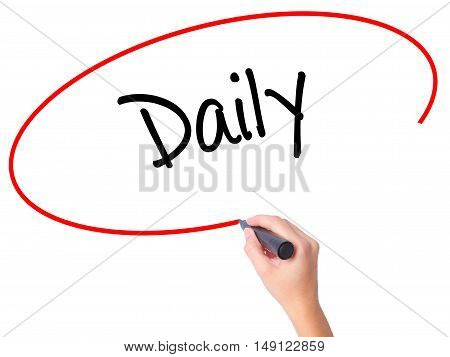 Women Hand Writing Daily With Black Marker On Visual Screen