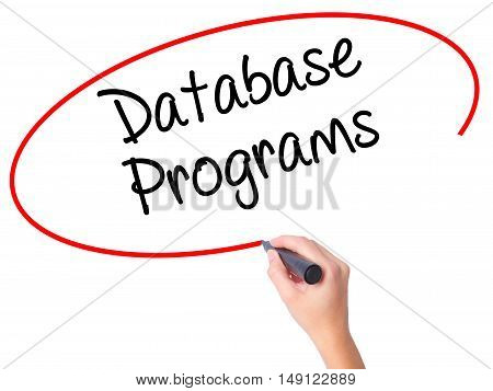 Women Hand Writing Database Programs With Black Marker On Visual Screen.