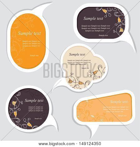 Speech bubbles set with floral elements. Vector illustration