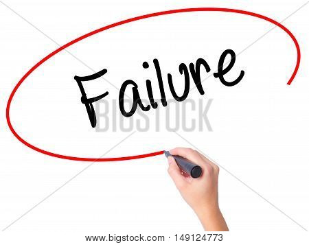 Women Hand Writing Failure With Black Marker On Visual Screen