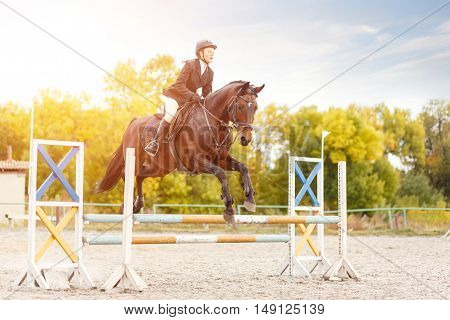 Young Rider Girl On Horse Show Jumping Competition