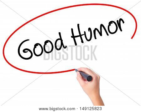 Women Hand Writing Good Humor With Black Marker On Visual Screen.