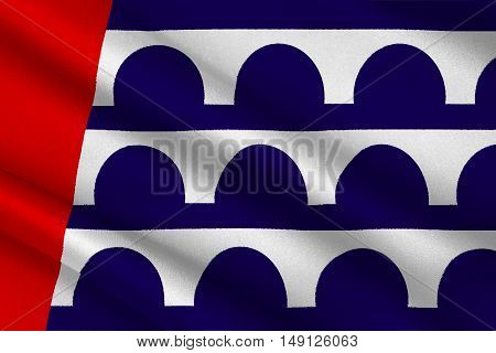 Flag of Des Moines is the capital of Iowa state United States. 3D illustration
