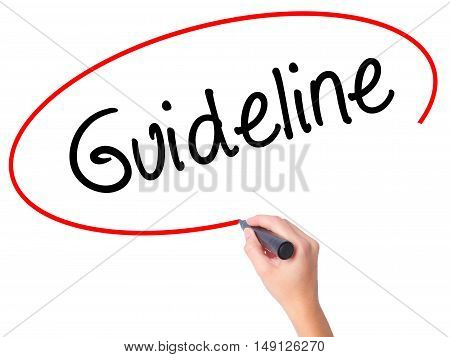 Women Hand Writing Guideline With Black Marker On Visual Screen