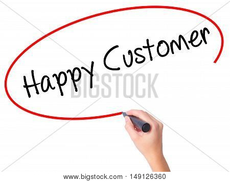 Women Hand Writing Happy Customer With Black Marker On Visual Screen