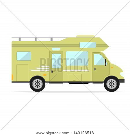 Mobile Home Car. Camping Trailer Family. Flat Design Style. Vector illustration