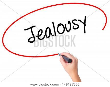 Women Hand Writing Jealousy With Black Marker On Visual Screen