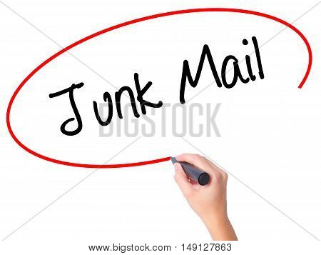 Women Hand Writing Junk Mail With Black Marker On Visual Screen