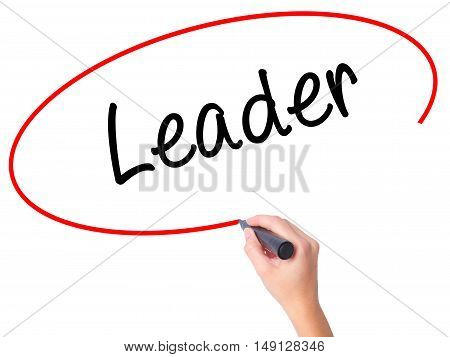 Women Hand Writing Leader With Black Marker On Visual Screen