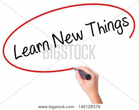 Women Hand Writing Learn New Things With Black Marker On Visual Screen