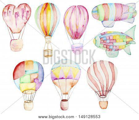 Air balloons collection. Watercolor illustration on a white. Zeppelin Watercolor Illustration
