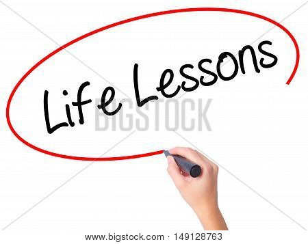 Women Hand Writing Life Lessons With Black Marker On Visual Screen