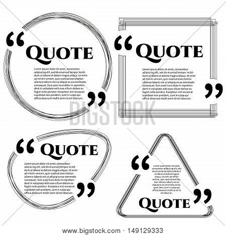 Set of vector scribble quote boxes with text isolated on white background. Quote, commas, message, quote blank, template. Quote bubble. Quote form.