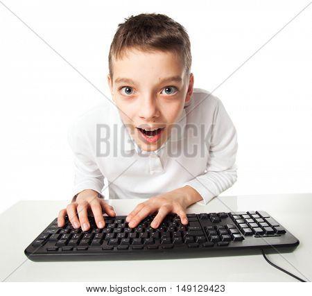 Child looking at computer. Computer addiction