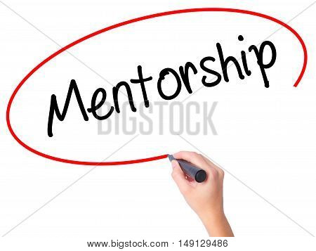 Women Hand Writing Mentorship  With Black Marker On Visual Screen