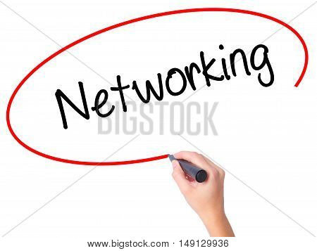 Women Hand Writing Networking With Black Marker On Visual Screen