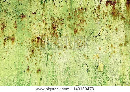 Old Painted Green Rusty Wall Detailed Texture