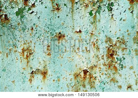 Old Painted Cyan Rusty Wall Detailed Texture