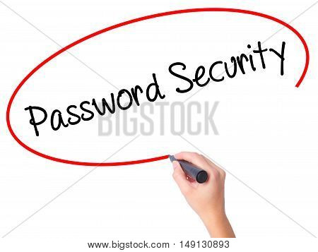 Women Hand Writing Password Security With Black Marker On Visual Screen