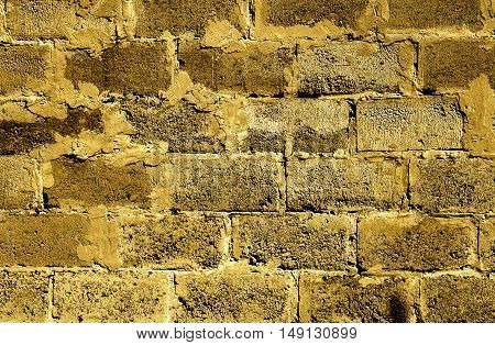 Golden Brickwork Detailed Texture Background - Stock Photo