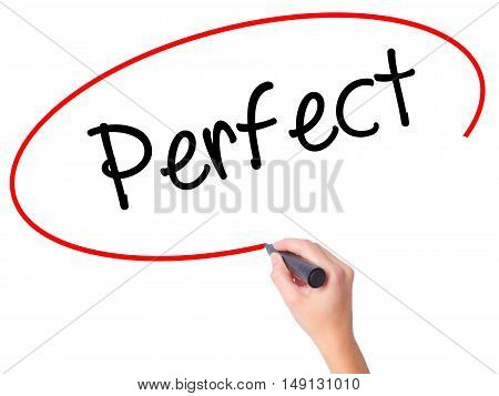 Women Hand Writing Perfect With Black Marker On Visual Screen
