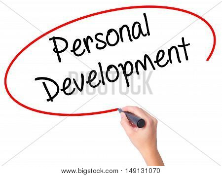 Women Hand Writing Personal Development  With Black Marker On Visual Screen.