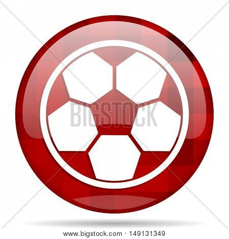 soccer red round glossy modern design web icon