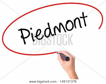 Women Hand Writing Piedmont With Black Marker On Visual Screen