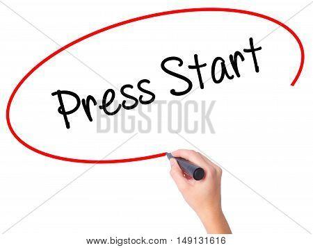 Women Hand Writing Press Start With Black Marker On Visual Screen